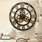 New              19 Inch Antique Roman Numerals Silent Wall Clock Rustic Wheel Gear Wooden Decor Clock