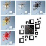 New              DIY Wall Clock 3D Crystal Mirror Living Room Office Sticker Home Modern
