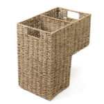 New              2 Compartments Wicker Handwoven Stair Step Storage Baskets