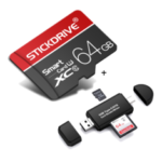New              StickDrive 64GB Class 10 High Speed TF Memory Card with Camera Card Adapter+ 3 In 1 Type-C USB 2.0 Micro USB Memory Card Reader