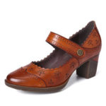 New              SOCOFY Women Genuine Leather Retro Hollow Pumps