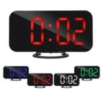 New              Digital LED Mirror Large Display Alarm Clock Snooze Function Dual USB Charger