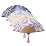 New              Chinese Japanese Handmade Bamboo Silk Hand Fan Folding Pocket Wedding Party Decorations