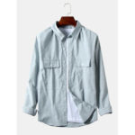 New              Mens Cotton Fabric Double Pockets Long Sleeve Loose Shirts