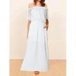 New              Women Short Sleeve Casual Lace Off Shoulder Maxi Dress