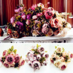 New              8Pcs Artificial Peony Silk Flowers Artificial Leaf Home Wedding Party Decorations