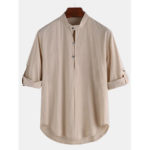 New              Mens Vintage Stand Collar Long Sleeve Solid Color Shirts