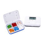 New              LCD Digital Timer Pill Box 5 Alarms Electric Clock Reminder Pill Case
