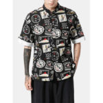 New              Mens Ethnic Printing Short Sleeve Turn Down Collar Shirts