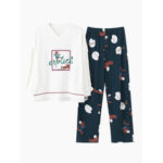 New              Womens Cotton V-Neck Long Sleeve With Ruffle Printed Pajamas