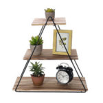 New              3 Layers Wooden Retro Storage Racks Iron Hanging Wall Triangle House Shelf Bookshelf Decorations Display Stand Shelves for Office Home Living Room Bedroom