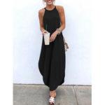 New              Sleeveless Straps High Low Hem Solid Causal Maxi Dress