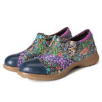 New              SOCOFY Women Genuine Leather Flower Pattern Slip On Flats