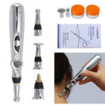 New              Electronic Pulse Analgesia Pen Body Pain Relief Acupuncture Point Massage Pen w/ 3 Head Manual Massager