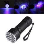New              21 LEDs uv395 Portable Aluminum UV Ultra Violet Flashlight Mini Violet Torch Currency Detector Lamp Blacklight Light