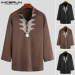 New              Men's African Patchwork Printed Long Sleeve Top Shirts