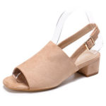 New              LOSTISY Women Suede Peep Toe Slingback Casual Heeled Sandals