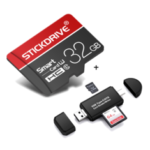New              StickDrive 32GB Class 10 High Speed TF Memory Card with Camera Card Adapter+ 3 In 1 Type-C USB 2.0 Micro USB Memory Card Reader