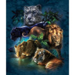 New              DIY 5D Diamond Paintings Tiger Lion Embroidery Cross Crafts Stitch Tool Kit