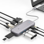 New              BlitzWolf® BW-TH8 11 in 1 USB-C Data Hub with 100W Type-C PD Power Delivery 2 USB3.0 & 2 USB2.0 4K@30HZ & 1080P@60HZ Resolution Stable Internet SD & TF Card Slot & Audio Sync Output