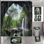 New              Natural Waterfall Shower Curtain Home Carpet Bathroom Decor Toilet Seat Cover Pedestal Bath Mat Rugs Set