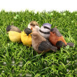 New              6 Pcs Resin Lifelike Bird Ornament Figurine Parrot Model Toy Gard Lawn Decorations