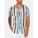 New              Mens Hawaiian Striped Collar Loose Short Sleeve Shirts