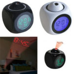 New              Digital Alarm Clock Wall Ceiling LED Projection Temperature Multifunction with Voice Talking