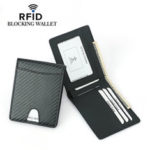 New              Men's Carbon Fiber Grain Billfold Wallet RFID Blocking ID Card Holder Money Clip