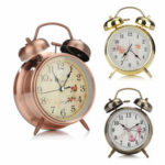 New              4 Inches Twin Bell Alarm Clock Series Retro Metal Style Twin Bell Clock Bedroom Decoration