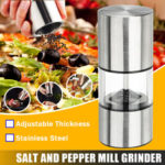 New              Stainless Steel Glass Salt & Pepper Mill Spice Grinder Adjustable Cooking