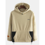New              Mens Sport Hooded Thick Patchwork Long Sleeve Sweatshirt