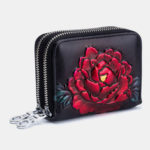 New              Women Rose Rfid Antimagnetic Genuine Leather 12 Card Slots Zipper Short Wallet