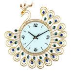 New              Large DIY 3D Flower Peacock Diamond Wall Clock Metal Modern Home Office Decorations