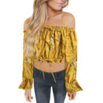 New              Bohemia Off Shoulder Flower Printed Long Sleeve Blouse