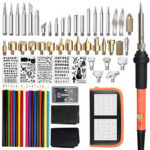 New              71Pcs Electric Solder Iron Wood Burning Pen Stencil Craft Pyrography Tool