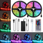 New              10M LED Strip Light Kit SMD5050 Waterproof RGB Flexible Lamp with 44 Key IR Remote RGB Controller + 12V 5A Power Supply