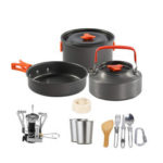 New              14 Pcs Camping Cooking Cookware Set Pots Pans Cups Stove Kettle Tableware