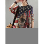 New              Women Flag Print Knit Long Sleeve Casual Sweaters