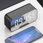 New              3 In 1 Wireless Stereo Hifi bluetooth Speaker Alarm Clock Phone Holder Built-in HD Mic Support TF Card FM