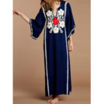 New              Women Floral Print Bell Sleeve Loose Vintage Maxi Dress
