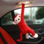 New              Tissue Box Holder Cartoon Monkey Car Hanging Paper Napkin Dispenser
