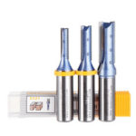 New              Drillpro 1/2 Inch Shank 2 Flutes Straight Router Bit Cutter Blue Coated Carbide Woodworking Tool