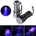 New              21 LEDs 400nm Aluminum UV Ultra Violet Flashlight Mini Violet Torch Light Blacklight Currency Detector Lamp