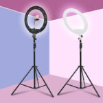 New              18 inch Camera Studio Ring Light Video LED Beauty Ring Light Photography Dimmable Beauty Light + Hose Phone Clip + PTZ + Storage Bag for Selfie Live Show