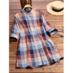 New              Women Buttons Down Long Sleeve Plaid Stand Collar Blouse