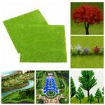 New              4 pcs/set Model Train Layout Green Grass Mat 25x25cm HO Scale Scenery Turf Decorations