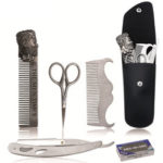 New              6Pcs/Set Beard Grooming & Trimming Kit Razor Comb Scissors Mustache Styling Tool