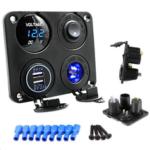 New              12-24V Car Boat Switch Panel Lighter Socket 3.1A USB Charger Voltmeter