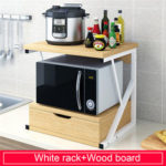 New              2-Tiers Kitchen Microwave Oven Rack with Drawer Home Storage Shelf Rack Kitchen Desktop Counter Shelf Organizer Tableware Space Saver